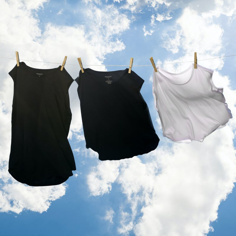 Luxe touch tees and tanks on clothesline