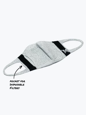 3d print-knit mask 2.0 light grey off model showing filter pocket