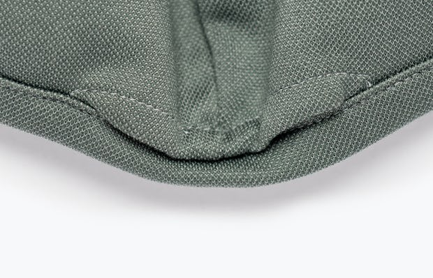 Olive Heather Apollo Mask In Close-Up of Pocket for Filter Insertion