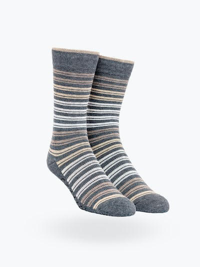 Tan Double Stripe Atlas Dress Socks