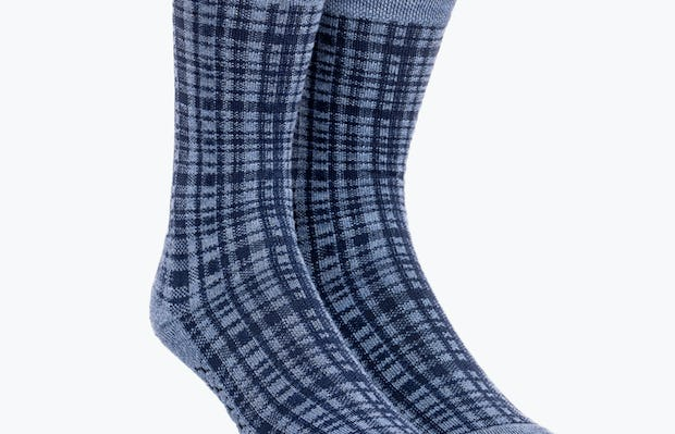 Blue Plaid Atlas Dress Sock