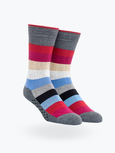 Red Blue and Tan Stripe Atlas Dress Sock