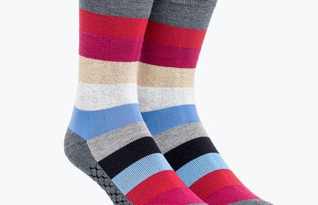 Red Blue and Tan Stripe Atlas Dress Sock
