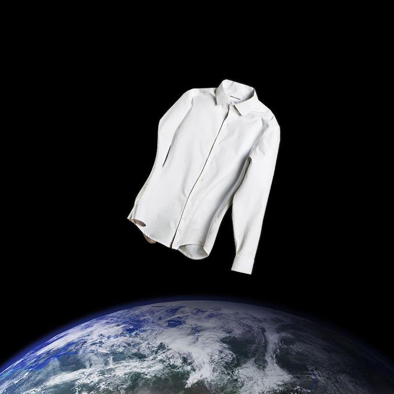 white aero zero dress shirt floating above the earth