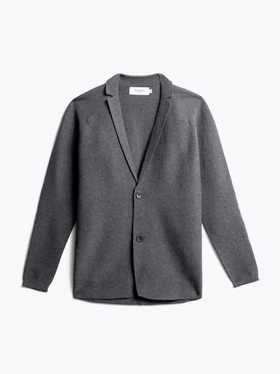 men's charcoal 3d print-knit blazer front