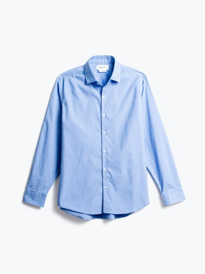 men's solid blue nylon aero zero dress shirt front