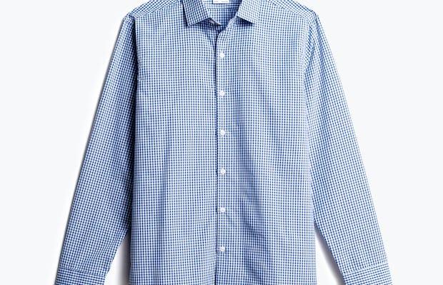 men's blue box plaid aero zero dress shirt front