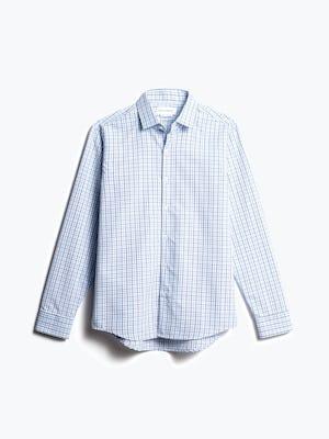 men's blue tattersall aero zero dress shirt front