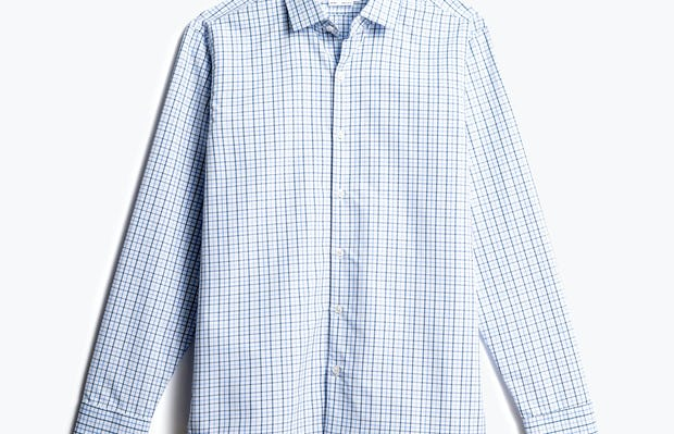 men's blue tattersall aero zero dress shirt front