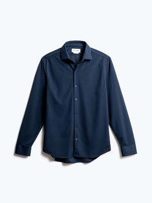 men's navy apollo dress shirt front