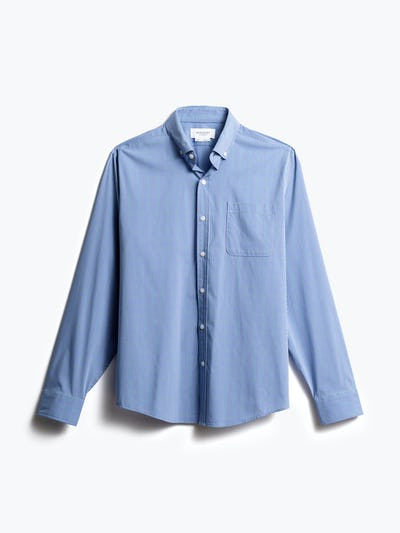 men's blue on blue grid gemini button down front