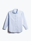 women's light blue aero zero boyfriend shirt shot of front