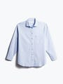 women's light blue aero zero boyfriend shirt shot of front