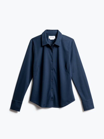 women's navy apollo tailored dress shirt shot of front