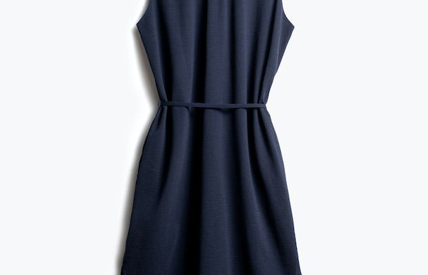 Women's Navy Hybrid Seersucker Dress Back View