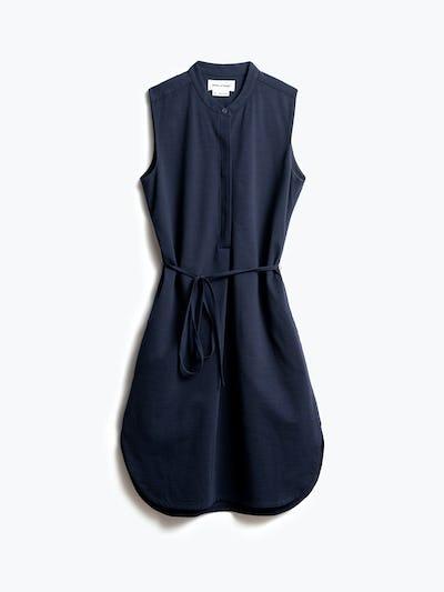 Women's Navy Hybrid Seersucker Dress Front View