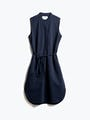 Women's Navy Hybrid Seersucker Dress Front View