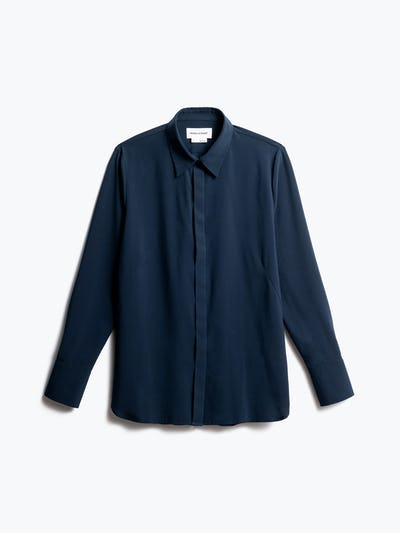 Women's Navy Juno Blouse Front View