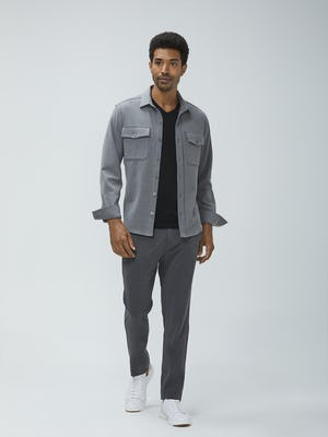 men's flint grey fusion overshirt unbuttoned model facing forward cuffs rolled
