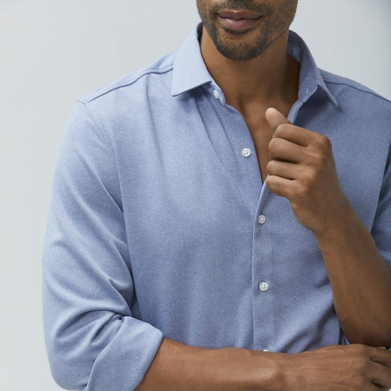 Man wearing pale blue brushed Apollo shirt