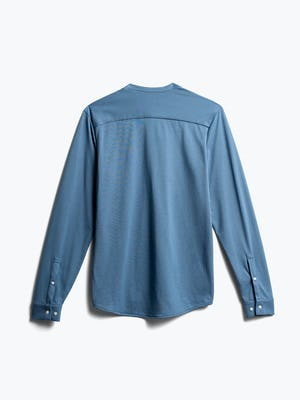 Mens Storm Blue Recycled Composite Merino Long Sleeve - Back View