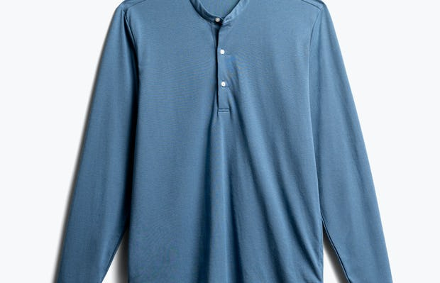 Mens Storm Blue Recycled Composite Merino Long Sleeve - Front View