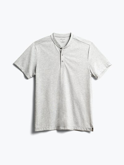 Mens Grey Heather Recycled Composite Merino Short Sleeve - Front View