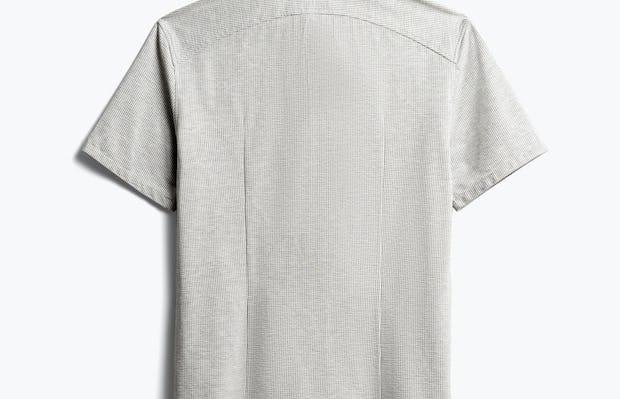 Mens Grey Stripe Hybrid Seersucker Slim Short Sleeve - Back View