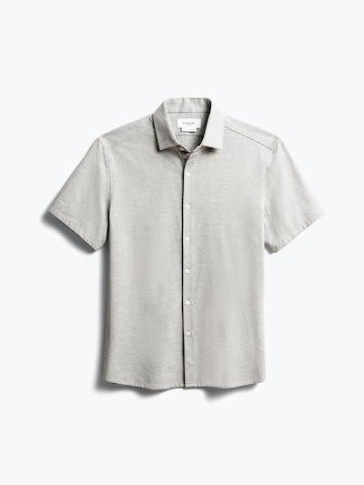 Mens Grey Stripe Hybrid Seersucker Slim Short Sleeve - Front View