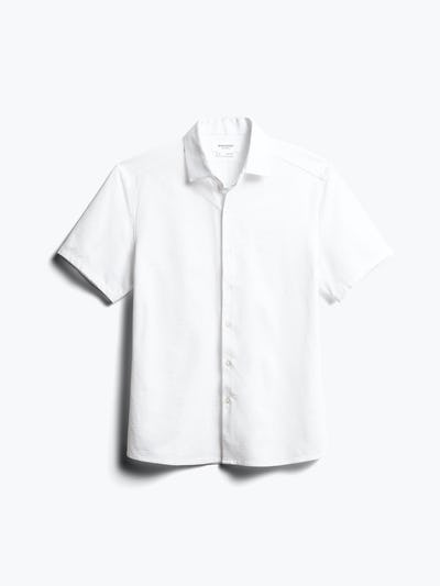 Mens White Hybrid Seersucker Slim Short Sleeve - Front View