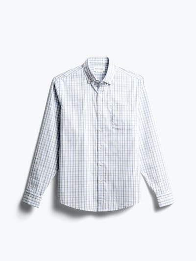 men's grey blue plaid aero button down front