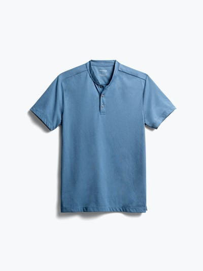 men's storm blue composite merino short sleeve henley front