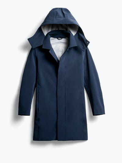 men's navy doppler mac raincoat front