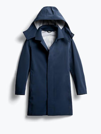 men's navy doppler mac raincoat front