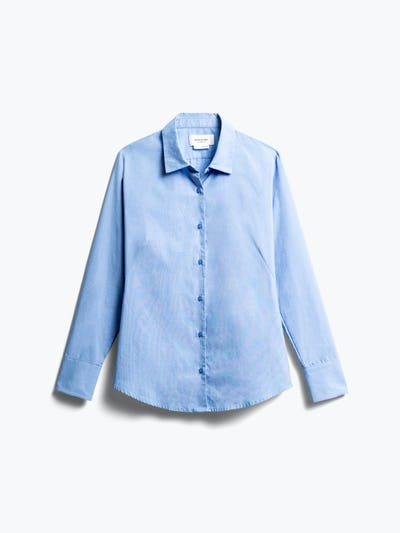 women's solid blue nylon aero dress shirt front