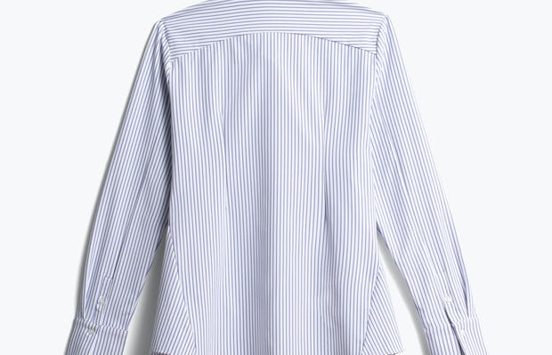 women's blue stripe aero zero dress shirt back