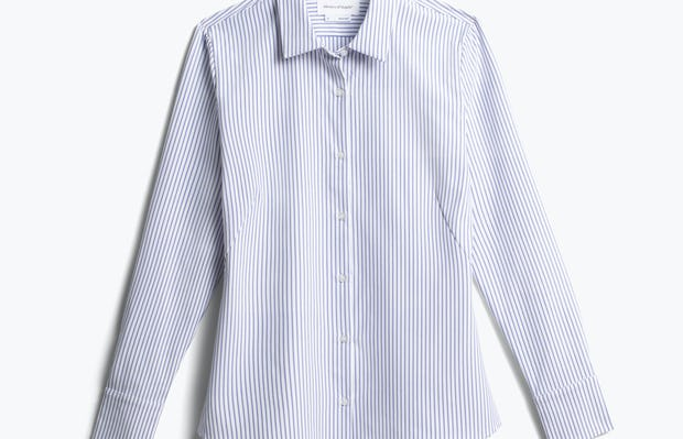 women's blue stripe aero zero dress shirt front