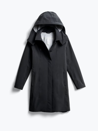 women's black doppler mac raincoat front
