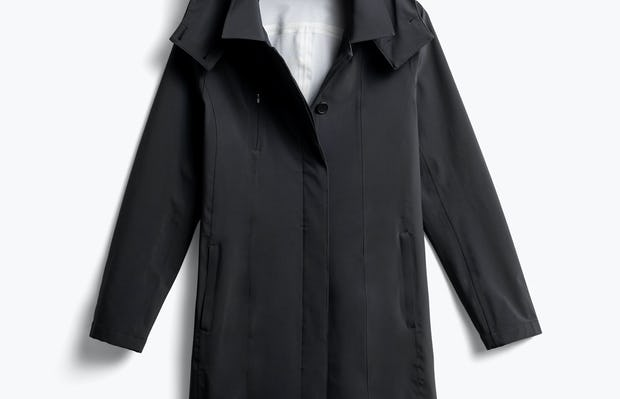 women's black doppler mac raincoat front