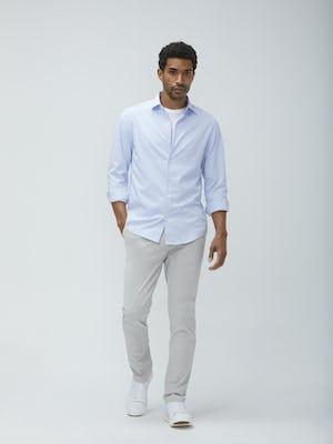Mens Blue Tattersall Aero Zero Dress Shirt and Light Grey Momentum Chino - On Model