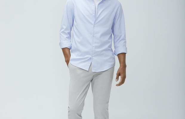 Mens Blue Tattersall Aero Zero Dress Shirt and Light Grey Momentum Chino - On Model