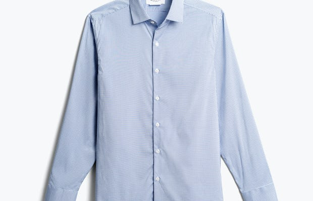 men's blue on blue grid aero dress shirt front