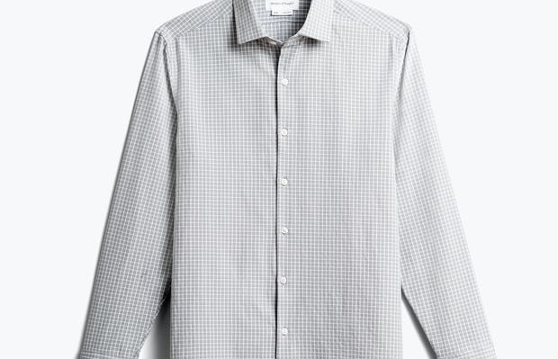 men's grey grid aero zero dress shirt front
