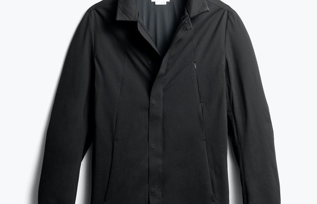 men's black kinetic town coat front without hood - front view