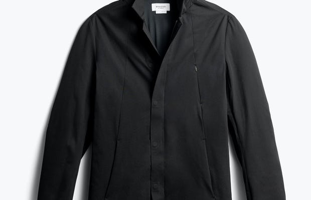 men's black kinetic town coat front with hood - front view