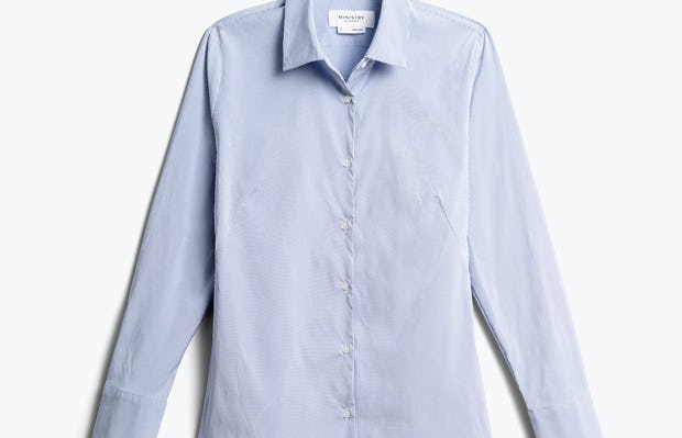 Women's Aero Dress Shirt Blue Stripe Front