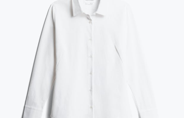 women's white aero zero dress shirt front