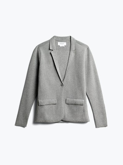women's light grey atlas knit blazer front