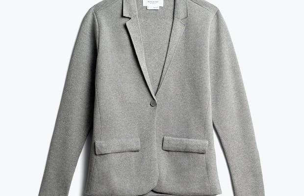 women's light grey atlas knit blazer front