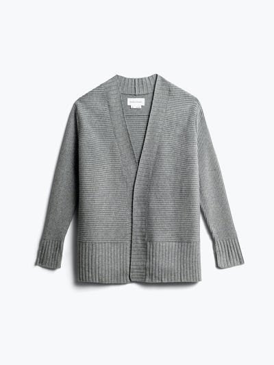women's light grey composite merino cardigan front